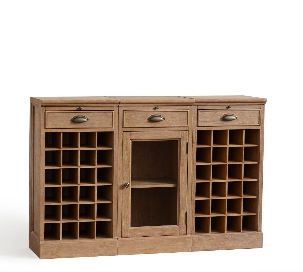 Modular Bar Buffet with 2 Wine Grid Bases & 1 Glass Door Base