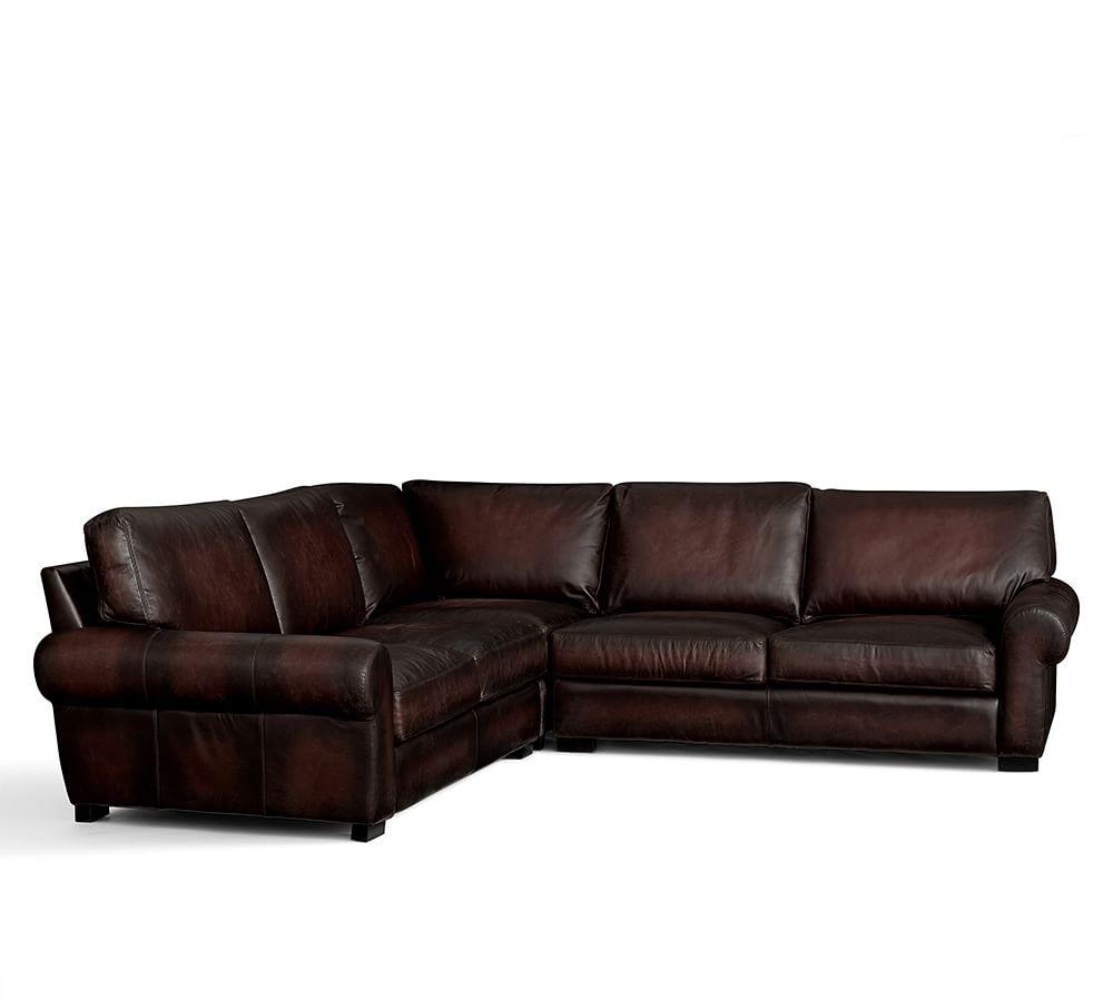 Turner Roll Arm Leather 3-Piece L-Shaped Sectional