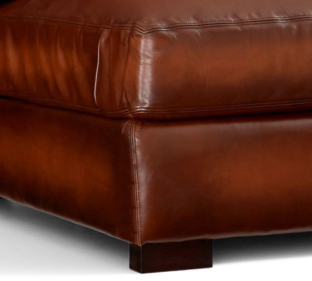 Turner Roll Arm Leather 3-Piece Sectional with Corner