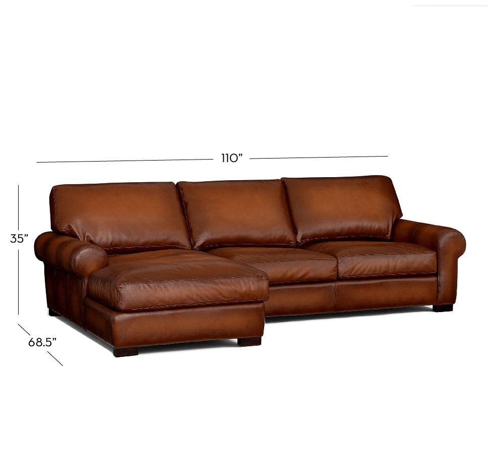 Turner Roll Arm Leather Sofa With Chaise Sectional