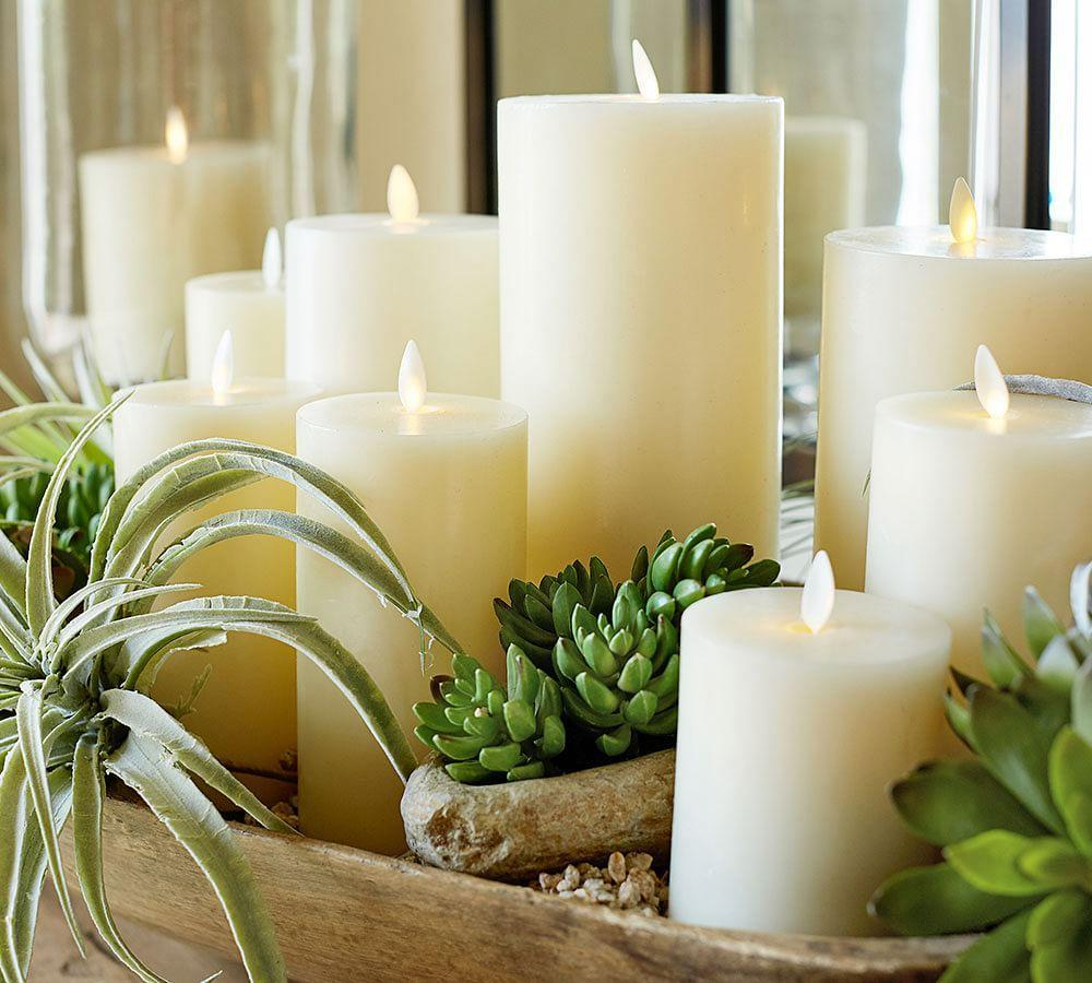 Premium Flickering Flameless Wax Candle 208 Ivory Pottery