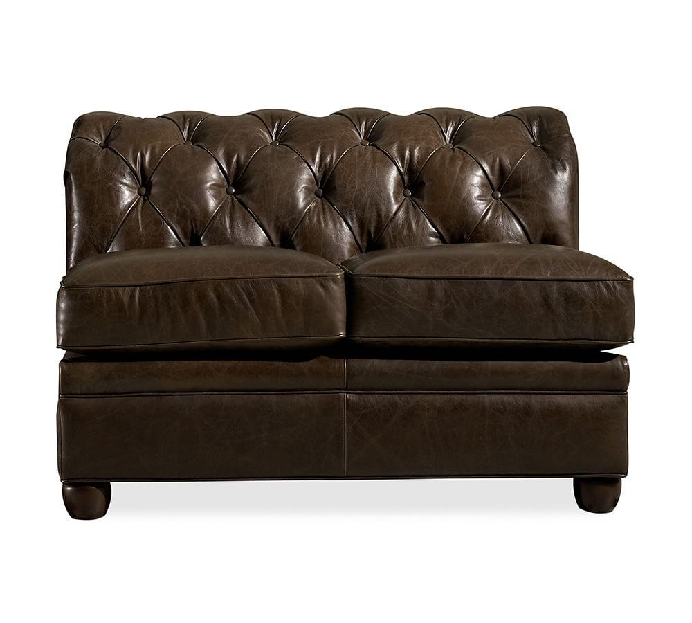 Chesterfield Leather Armless Loveseat