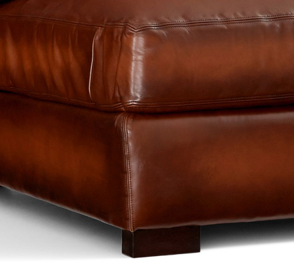 Turner Leather Ottoman Pottery Barn Ca