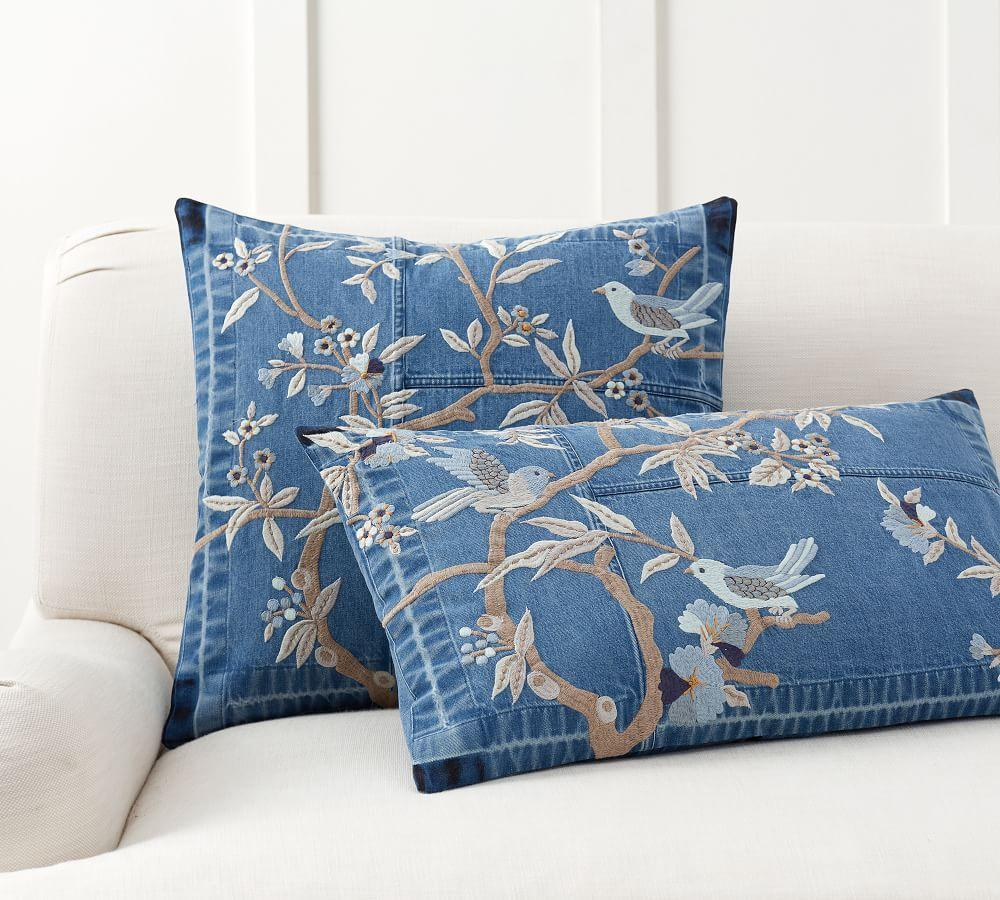 Denim Floral Embroidered Pillow Cover Pottery Barn Ca