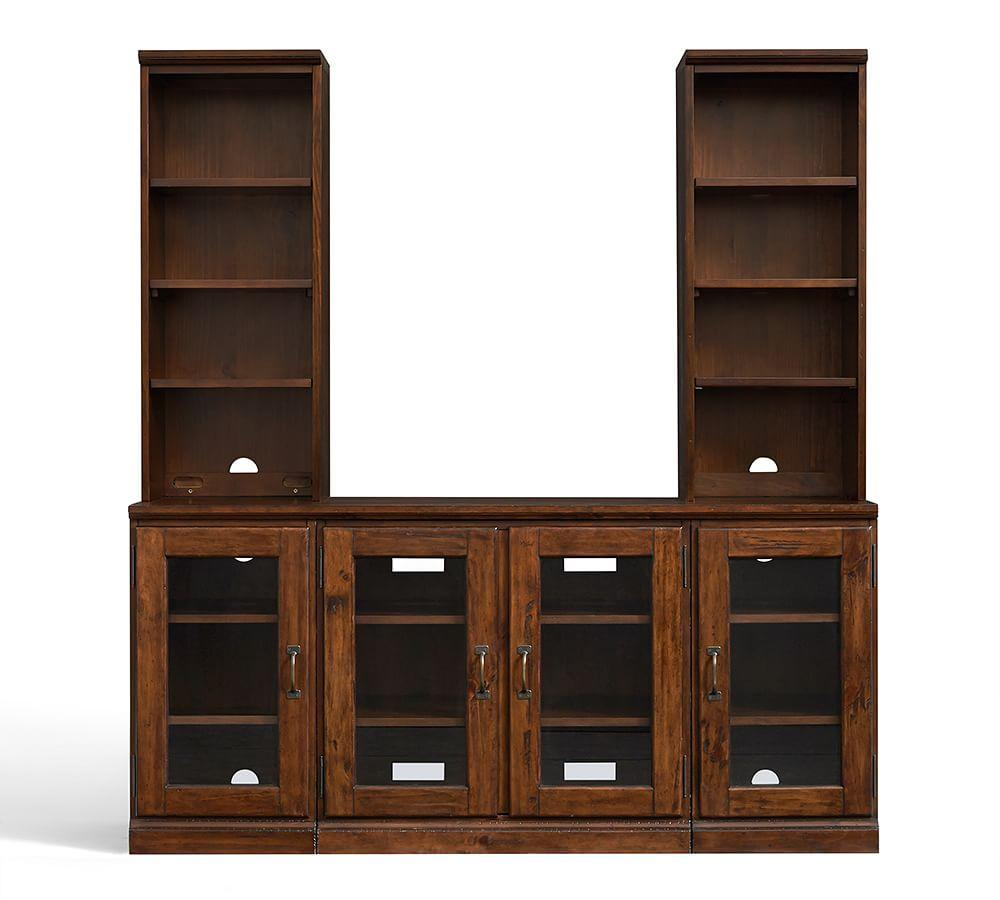 Printer's 5-Piece Entertainment Center With Glass Cabinets, Tuscan Chestnut