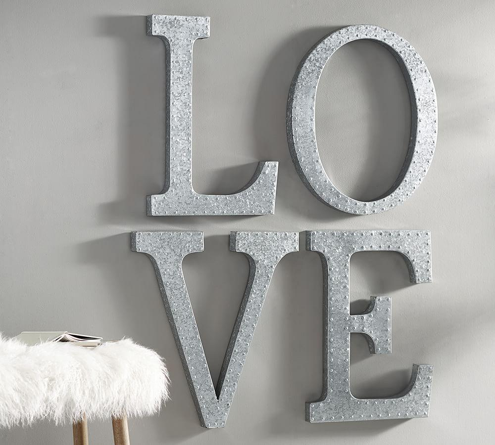Hanging Galvanized Letters Wall Art