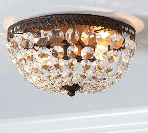 Mia Faceted-Crystal Flush Mount