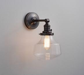 PB Classic Schoolhouse Glass Sconce