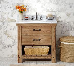 Benchwright Reclaimed Wood Single Sink Console - Wax Pine Finish