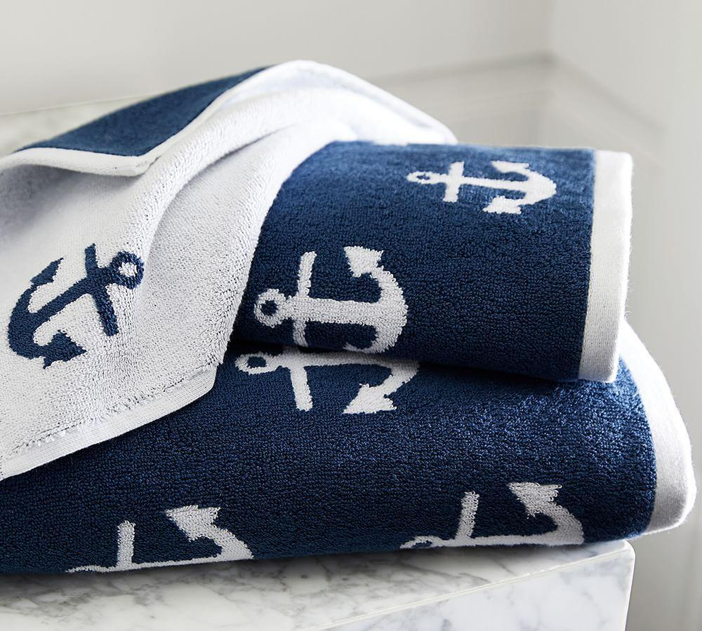 Anchor Jacquard Towels Pottery Barn Ca