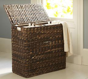 Seagrass Divided Hamper & Liner- Havana