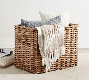 Aubrey Woven Oversized Rectangle Basket, Natural
