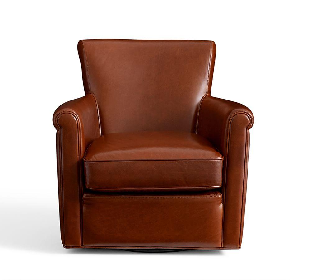 Irving Leather Swivel Armchair | Pottery Barn CA
