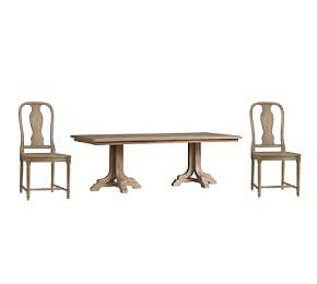Linden Extending Table & Mabry Chair Dining Set, Belgian Gray