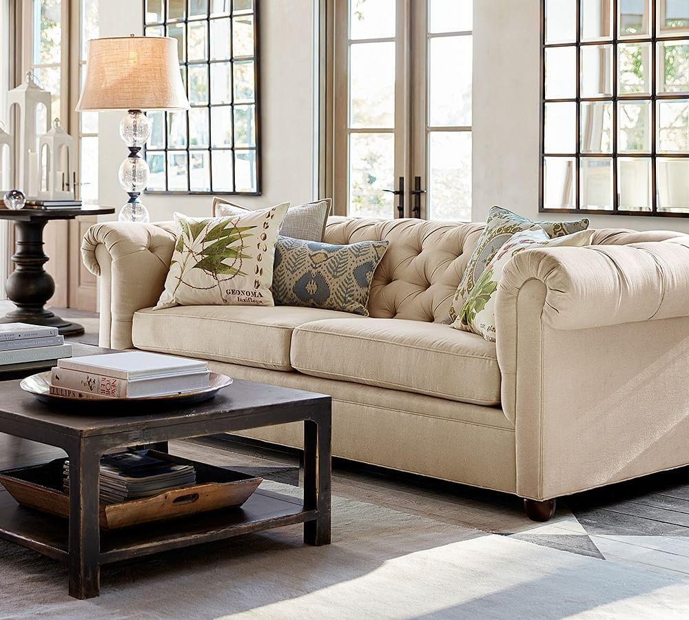 Chesterfield Upholstered Loveseat 72 Quot Pottery Barn Ca