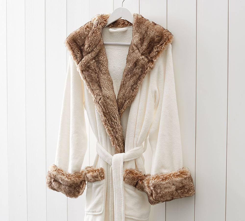 Faux Fur Robe - Ivory/Caramel Ombre