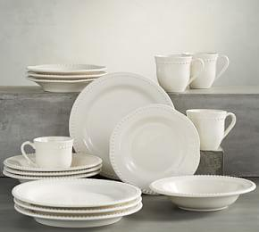 Emma Dinnerware 16 Piece Set with Soup Bowl - White