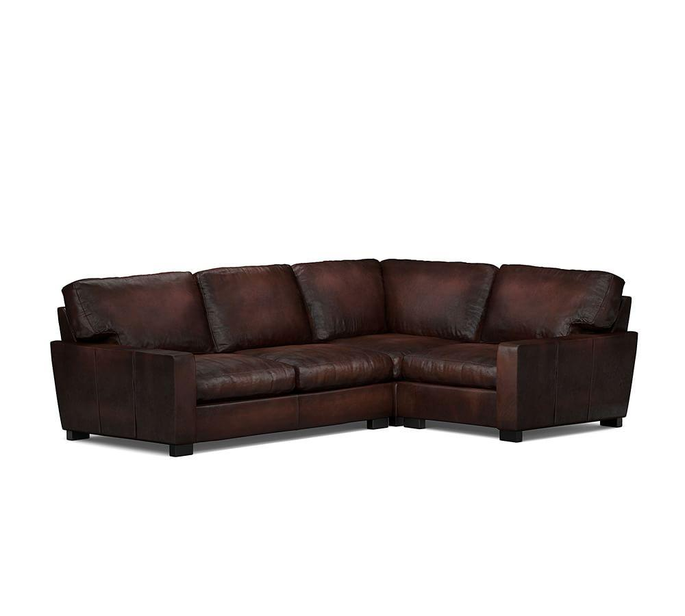Small Corner Sofa No Arms: Turner Square Arm Leather 3-Piece Sectional With Corner