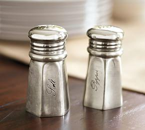 Antique Silver Sentiment Salt & Pepper Shakers