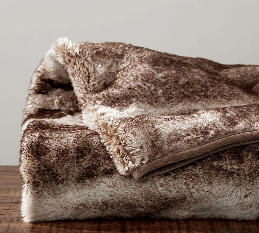 Faux Fur Throw Caramel Ombre Pottery Barn Ca