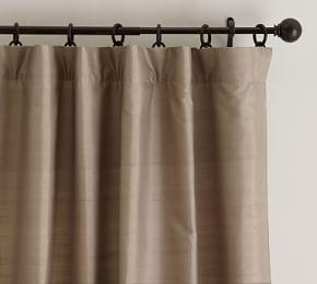 Dupioni Silk Pole-Pocket Curtain - Brownstone