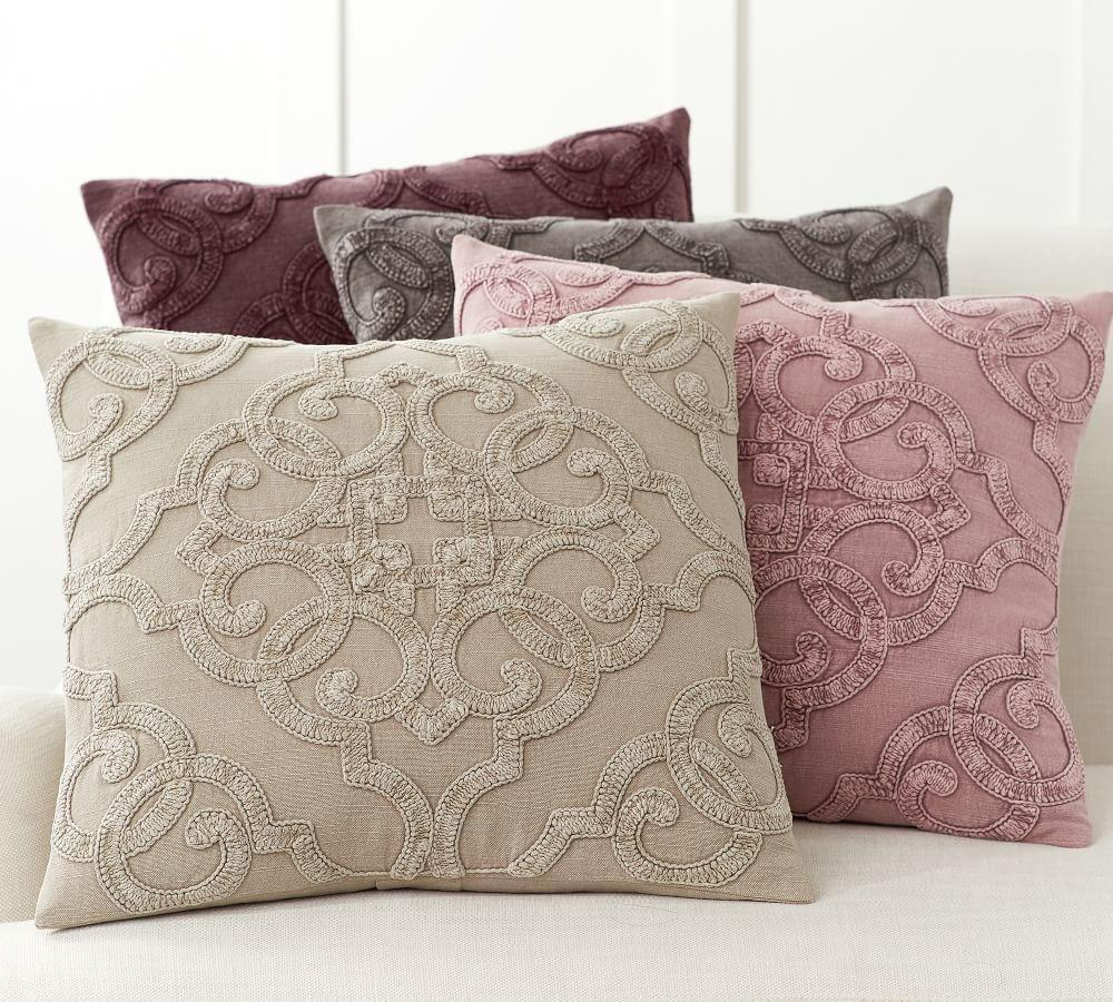 Drew Embroidered Pillow Covers Pottery Barn Ca