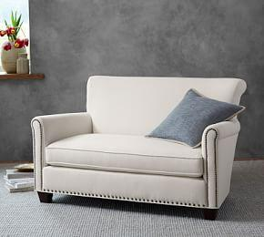 Irving Upholstered Settee with Nailheads 54