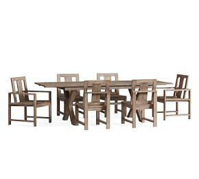 Indio X-Base Extending Dining Table & Chair 7-Piece Dining Set