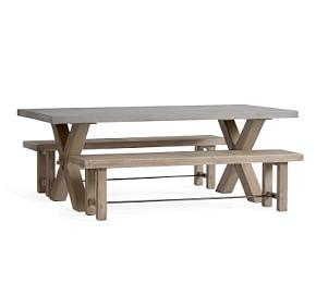 Abbott Gray X-Base Rectangular Dining Table with Bench Set