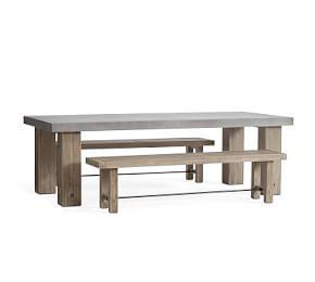 Abbott Chunky Leg Dining Table & Bench Dining Set, Gray