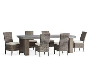 Abbott Chunky Leg Table & Huntington Chair Dining Set, Gray