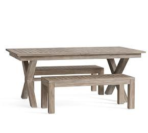 Indio X-Base Extending Table & Bench Dining Set