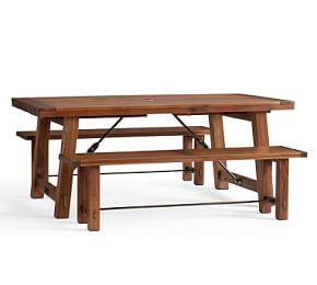 Benchwright Extending Table & Abbott Bench Dining Set