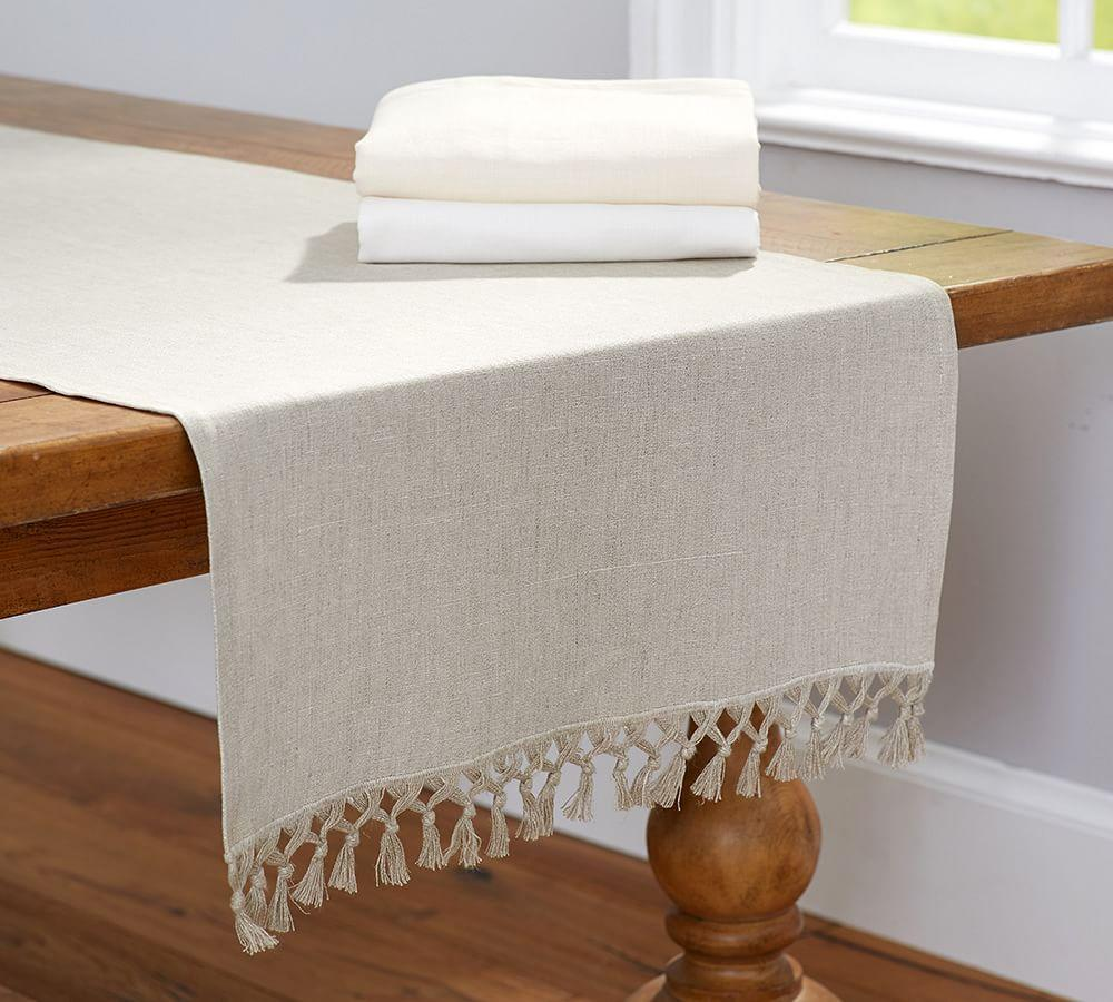 Fringed Linen Knotted Table Runner Pottery Barn Ca