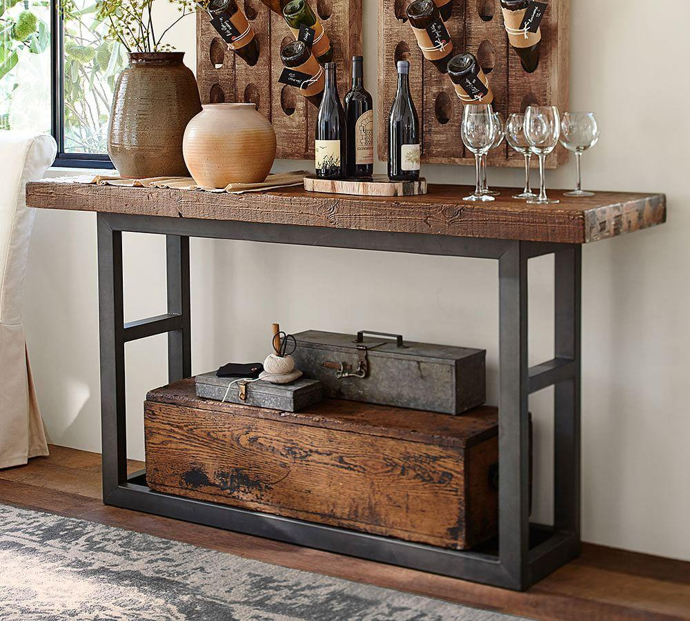 Griffin Reclaimed Wood Console Table Pottery Barn Ca