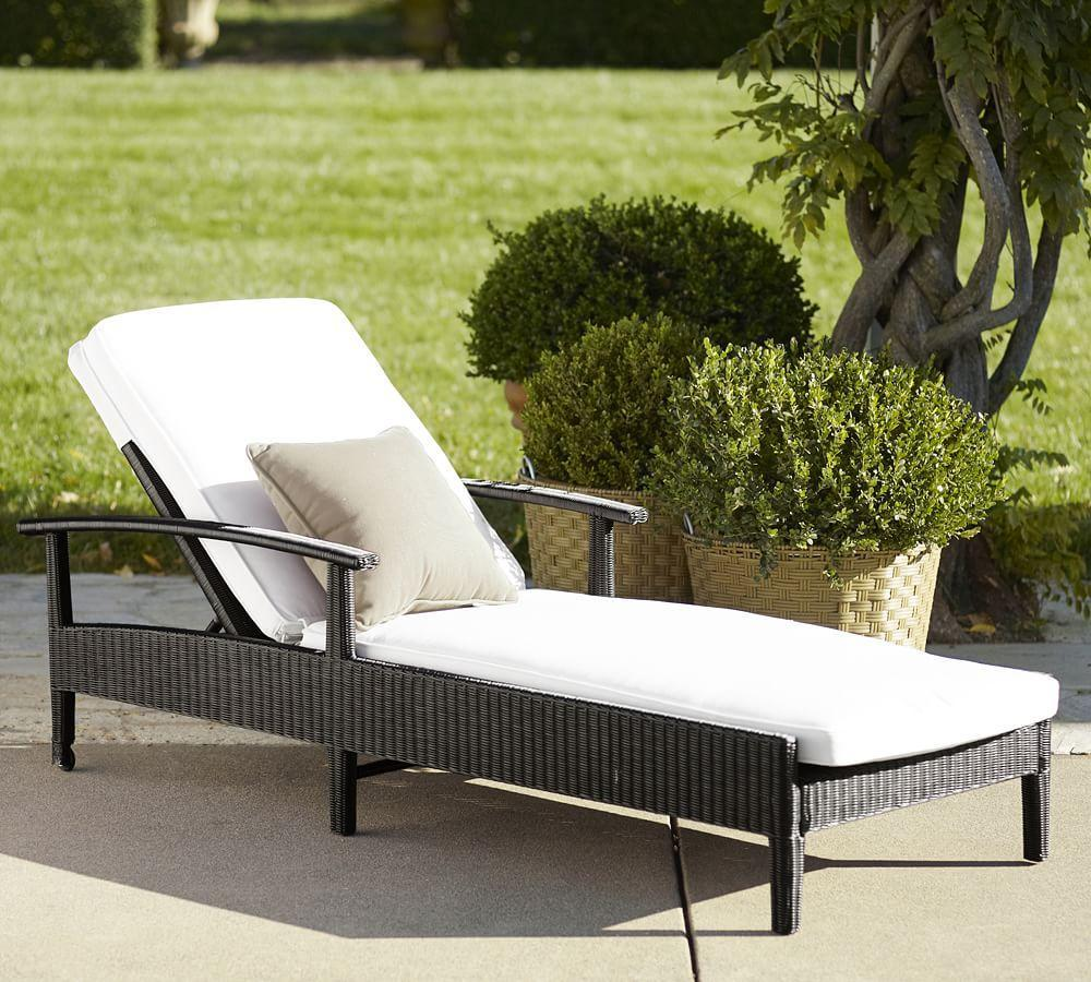 Palmetto All-Weather Wicker Chaise, Black