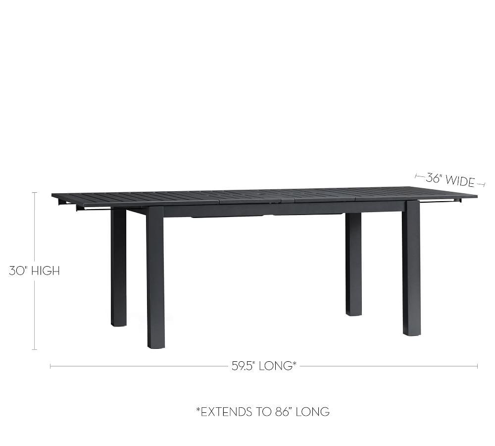 Indio Metal Extending Dining Table, Slate