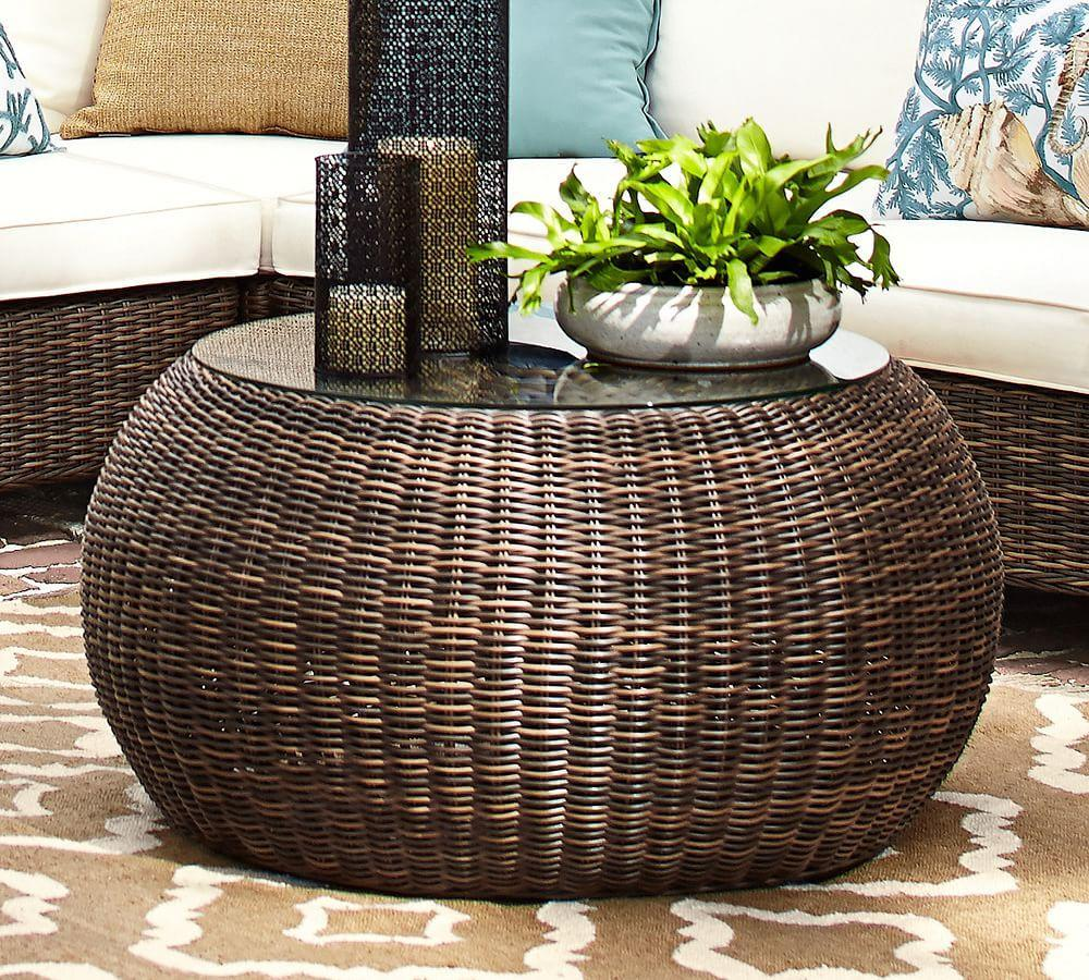Torrey All-Weather Wicker Coffee Table Pouf, Espresso