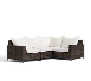 Torrey All-Weather Wicker Square Arm Sectional Set, Espresso