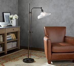 PB Classic Fluted Glass Articulating Floor Lamp