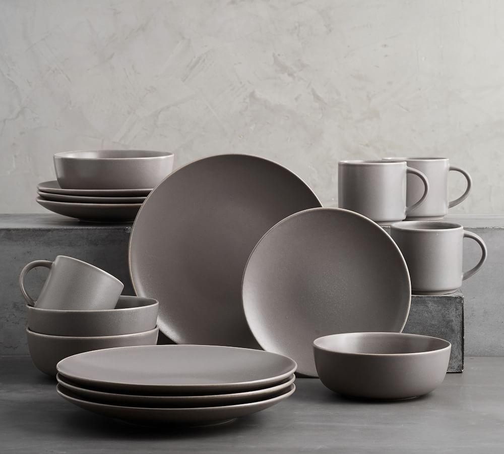 Mason 16 Piece Dinnerware Set Graphite Gray Pottery