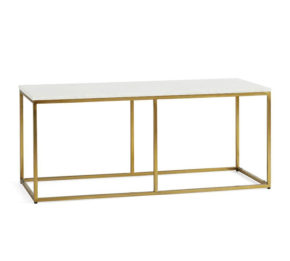 Delaney Rectangular Coffee Table, White Marble