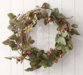 Faux Rose Hips Wreath