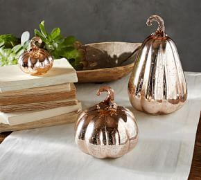 Mercury Glass Pumpkins - Rose Gold