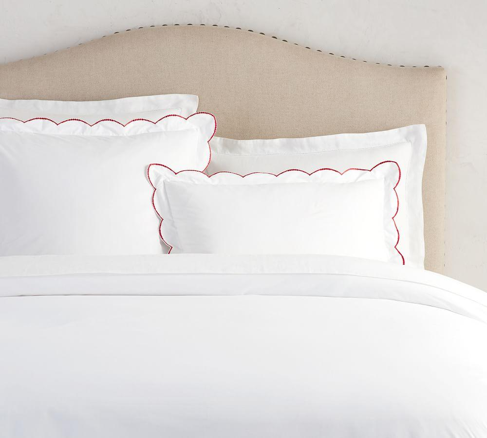 Scalloped Dot Embroidered Organic Duvet Cover & Sham