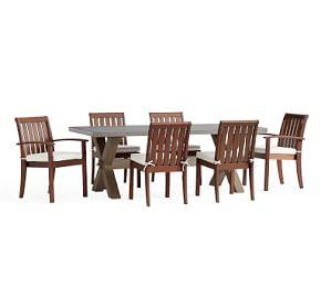 Abbott Brown X-Base Rectangular Table  Chatham Chair Dining Set