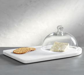 White Marble Glass Domed Cheese Board