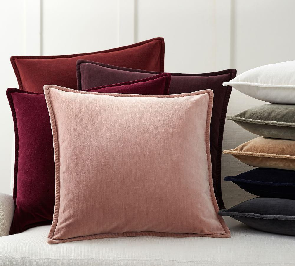 Washed Velvet Pillow Covers Pottery Barn Ca