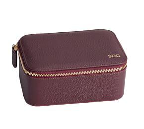 Reese Leather Travel Jewelry Collection - Merlot