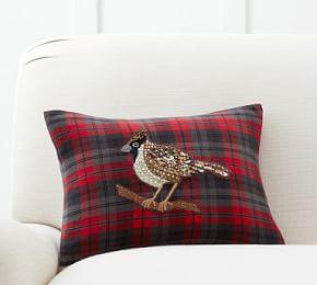 Jeweled Bird Plaid Pillow Cover